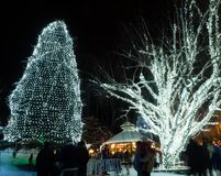 Christmas light up in Leavenworth, WA. Leavenworth, WA - December 27, 2015: Christmas light in Leavenworth Bavarian-styled village Royalty Free Stock Photos