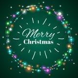 christmas light wreath Διανυσματικό διακοσμητικό πλαίσιο Χριστουγέννων φωτισμού για την κάρτα χειμερινού φεστιβάλ Στοκ Εικόνες