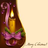 Christmas lighted candle with beads. Christmas candle decorated with fir branches, ribbons and beads to format Royalty Free Illustration