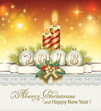 Christmas 2018. Christmas with lighted candles and Christmas bells stock illustration