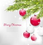 Christmas Lighten Card with Fir Branches. Illustration Christmas Lighten Card with Fir Branches and Glass Balls - Vector Stock Photos