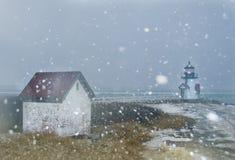 Christmas lighthouse Stock Photo