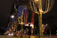 Christmas lighting on Champs Elysees Paris. In France Royalty Free Stock Images