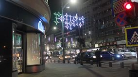 Christmas lighting in the city stock video