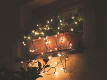 Christmas lighting. Christmas light decoration of house Royalty Free Stock Image