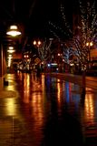 Christmas Lighting in Portland, Oregon, USA. Christmas lighting and decorations along the streets and Parks in the Pearl District, Portland, Oregon, on a rainy stock images
