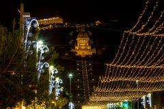 Christmas lighting on Sderot Ben Gurion in Haifa royalty free stock images