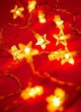 Christmas lights. Star shaped Christmas lights, shallow DOF Stock Photography