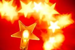 Christmas lights. Star shaped Christmas lights, shallow DOF Stock Photo