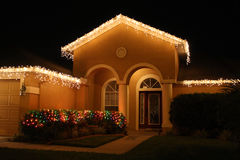 Christmas lights. On a house in central Florida Stock Photography