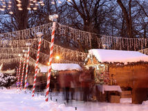 Christmas lights. Christmas party, houses full of snow stock photo
