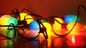 Christmas lights on. Christmas light turned on Royalty Free Stock Photo