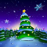 Christmas lights. Christmas tree with lights surrounded by smaller trees Stock Photo