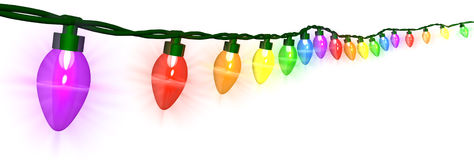 Christmas Lights. A string of colorful Christmas lights - 3D render Royalty Free Stock Photo