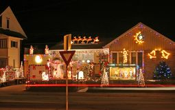 Christmas lights. This house puts on one of the best display og lights and decorations in sudbury ontario stock image