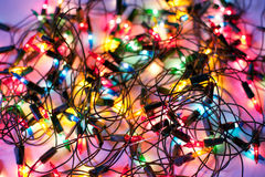 Christmas lights. Background of colorful Christmas lights. Decorative garland Stock Photos