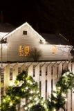 Christmas Lights. Historic farm decorated with Christmas lights stock photo