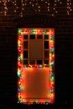 Christmas lights. On the door Stock Photos
