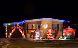 Christmas Lights 8. House decorated with colorful christmas lights - featuring santa and his reindeer Royalty Free Stock Photography
