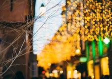 Christmas Lights above the streets beautiful bokeh Stock Photography