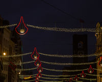 Christmas lights amsterdam. The glow of Christmas lights in Amsterdam royalty free stock photography