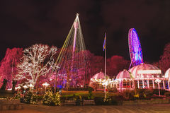 Christmas lights in Amusement Park Liseberg, Gothenbur, Sweden. Christmas selebrations in Sweden at december night Royalty Free Stock Images