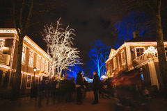 Christmas lights in Amusement Park Liseberg, Gothenbur, Sweden. Christmas selebrations in Sweden at december night Stock Photo