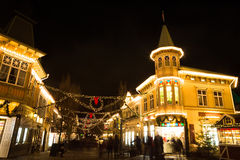Christmas lights in Amusement Park Liseberg, Gothenbur, Sweden. Christmas selebrations in Sweden at december night Royalty Free Stock Photography
