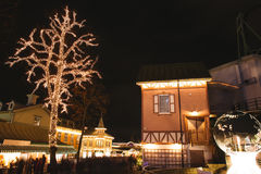 Christmas lights in Amusement Park Liseberg, Gothenbur, Sweden. Christmas lights in Park, Sweden. Xmas celebration concept stock photo