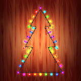 Christmas lights as fir tree holiday concept. Realistic vector Stock Image