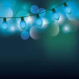 Christmas lights background. Extension cord blue christmas lights background. colorful design. vector illustration Stock Photo