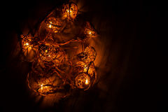 Christmas lights background garlands in night Stock Photo