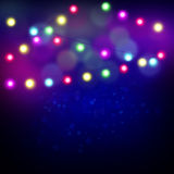 Christmas lights background illustration with space for text Royalty Free Stock Photography