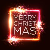 Christmas lights background. Square neon frame. vector illustration