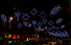 Christmas lights in Barcelona street at night Stock Photography