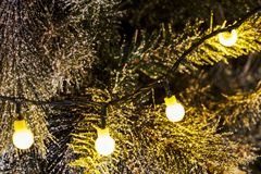 Christmas lights, baubles, stars and other seasonal decorations royalty free stock photos