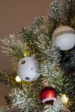 Christmas lights, baubles, stars and other seasonal decorations stock image