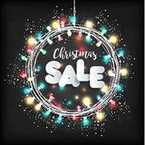 Christmas lights on black background. New year garland. Sale illustration for holiday. Christmas lights on black background. New year garland Royalty Free Stock Photography