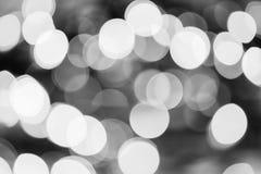 Christmas Lights Black and White Bokeh Stock Photos