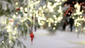 Christmas lights bokeh background, blurry, people stock video
