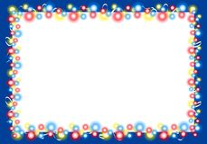 Christmas Lights Border Frame 2. A background border of glowing Christmas lights at night in various colors set against dark blue background royalty free stock photo