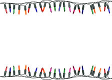 Christmas lights border and frame. Isolated on white  background. This has clipping path Royalty Free Stock Photography