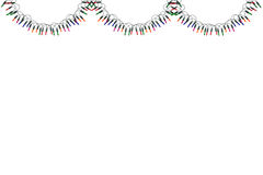 Christmas lights border and frame. Isolated on white  background. This has clipping path Royalty Free Stock Photo