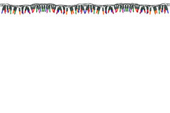 Christmas lights border and frame. Isolated on white  background. This has clipping path Stock Photography