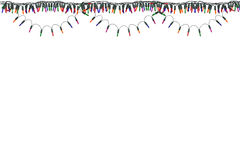 Christmas lights border and frame. Isolated on white  background. This has clipping path Stock Images