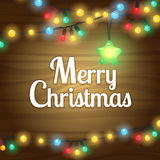 Christmas lights border frame. Text card on wooden background vector illustration Royalty Free Stock Photography