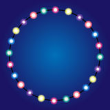 Christmas lights border. Holiday greeting card design. Garland Stock Photos