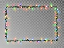 Free Christmas Lights Border Vector, Light String Frame Isolated On Dark Background With Copy Space. Tran Royalty Free Stock Photography - 130553247