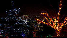 Christmas lights and Bosie Idaho skyline at night. Boise skyline at night with Christmas lights Royalty Free Stock Photo