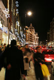 Christmas lights on Brompton Road with Harrods Royalty Free Stock Images